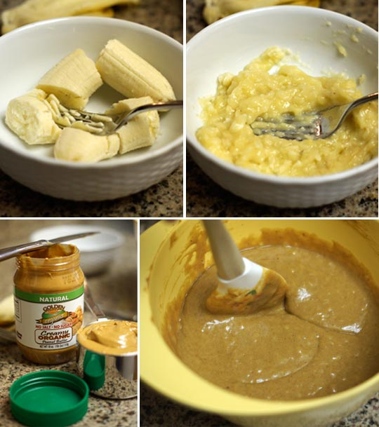 fork mashing a banana and a mixing bowl of peanut butter muffin batter