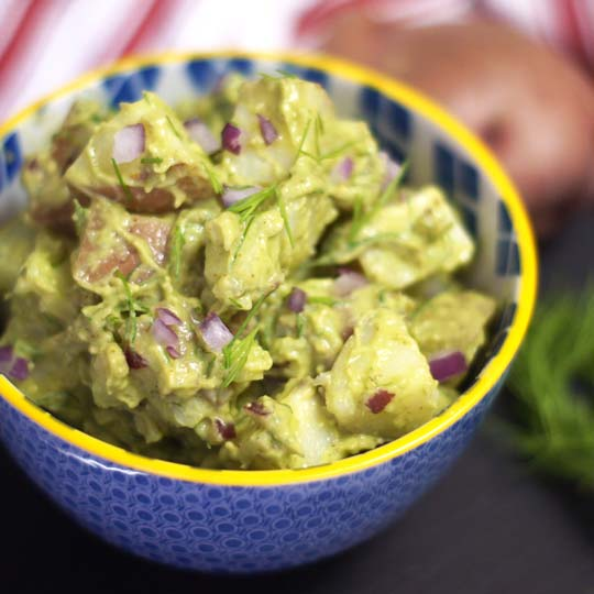 This classic potato salad features creamy avocado instead of ...