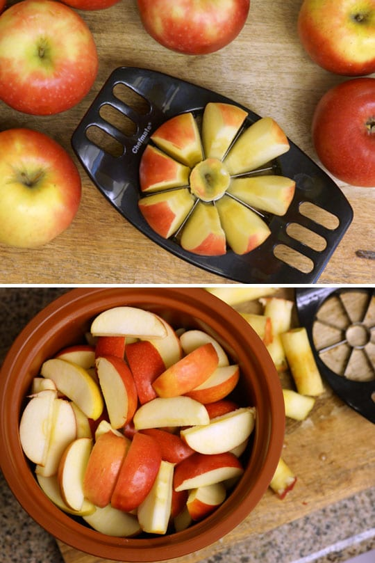 slicing apples with an apple slicer