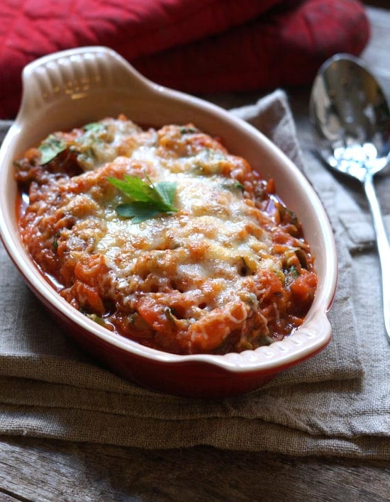 baked vegetable marinara in a dish