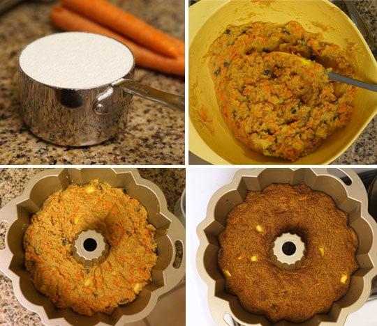 coconut flour carrot cake in a bundt pan
