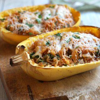 Spaghetti Squash Enchilada Boats (Grain-free)