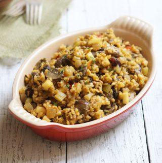 Wild Rice & Mushroom Stuffing (Vegan, Gluten-free)