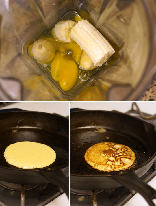 making pancake batter in a blender and cooking them on the stove