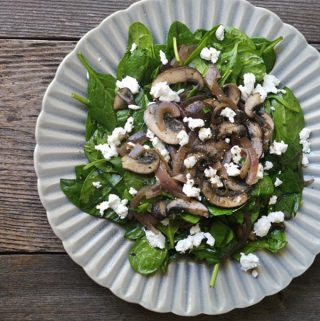 Warm Mushroom & Spinach Salad