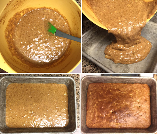 paleo banana snack cake poured into a pan
