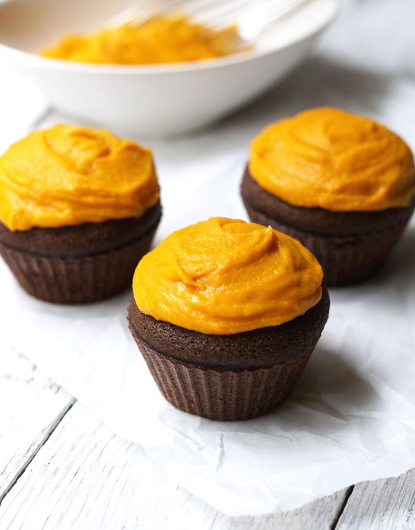 chocolate cupcakes with maple buttercream