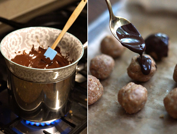 covering the peanut butter balls with chocolate