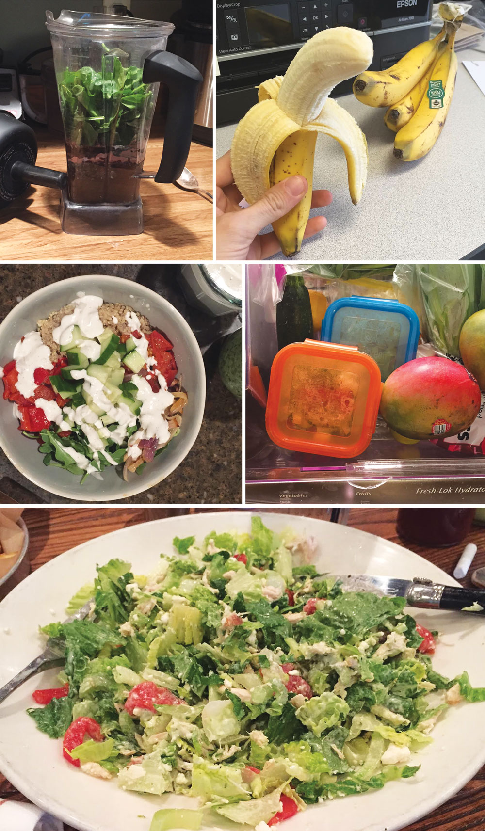 blender with smoothie ingredients, hand holding a peeled banana, bowl with salad, and plate with salad