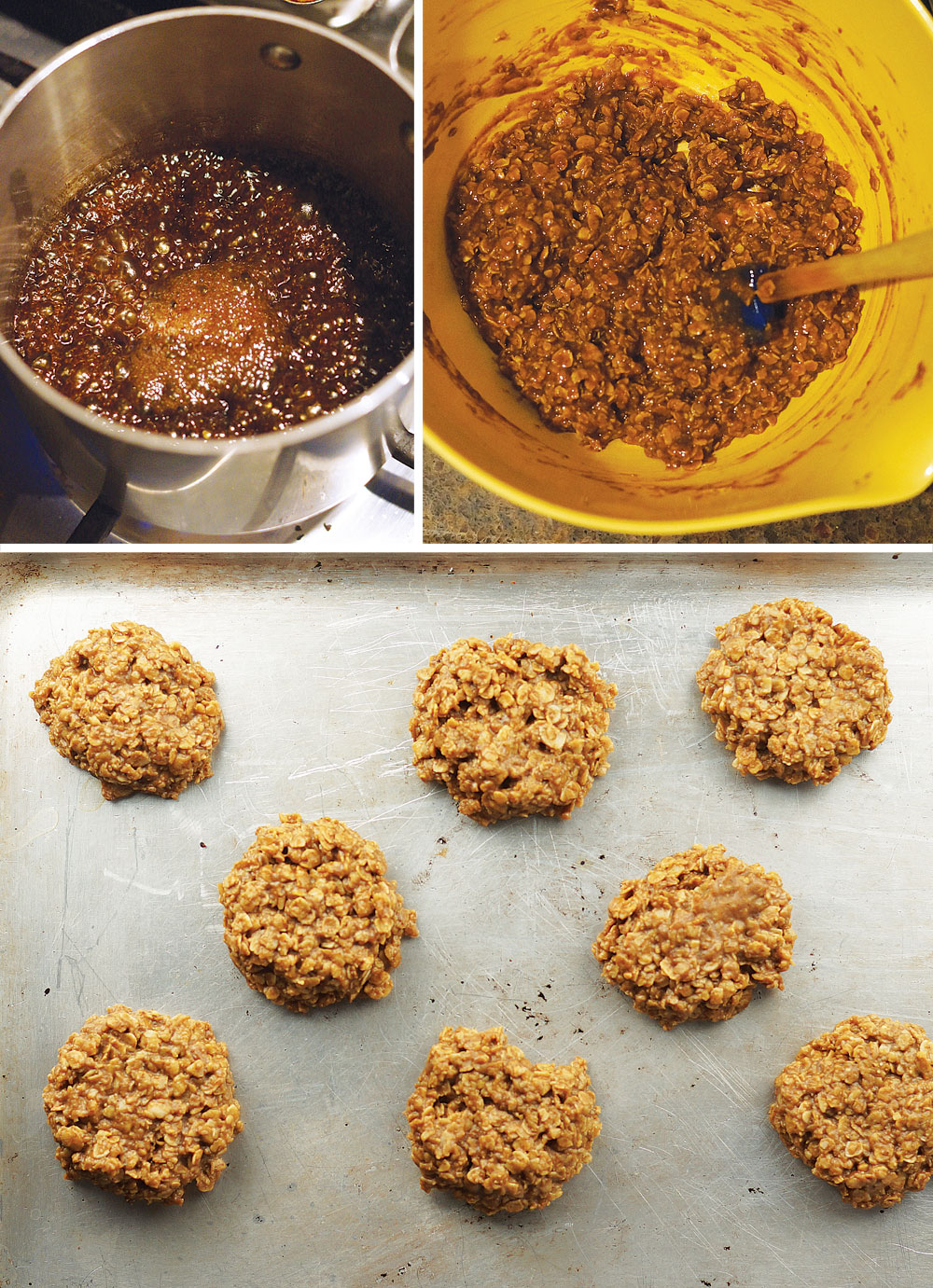 making no-bake spice cookies and putting them on a pan