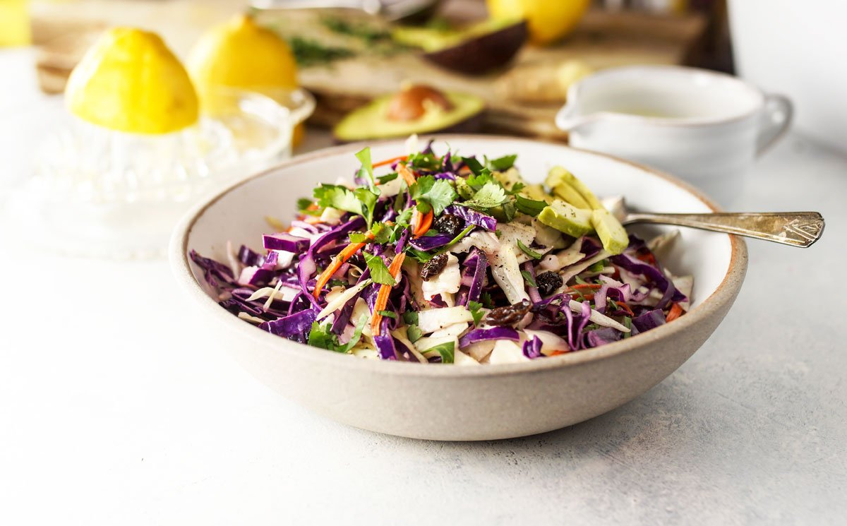 bowl of detox salad with lemon ginger dressing