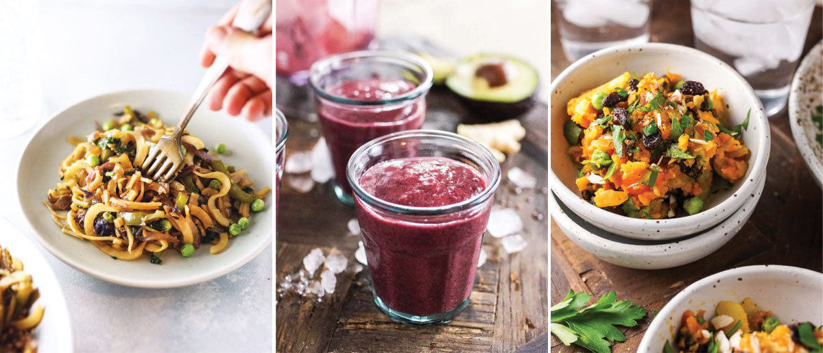 pictures of three recipes from the no excuses detox cookbook