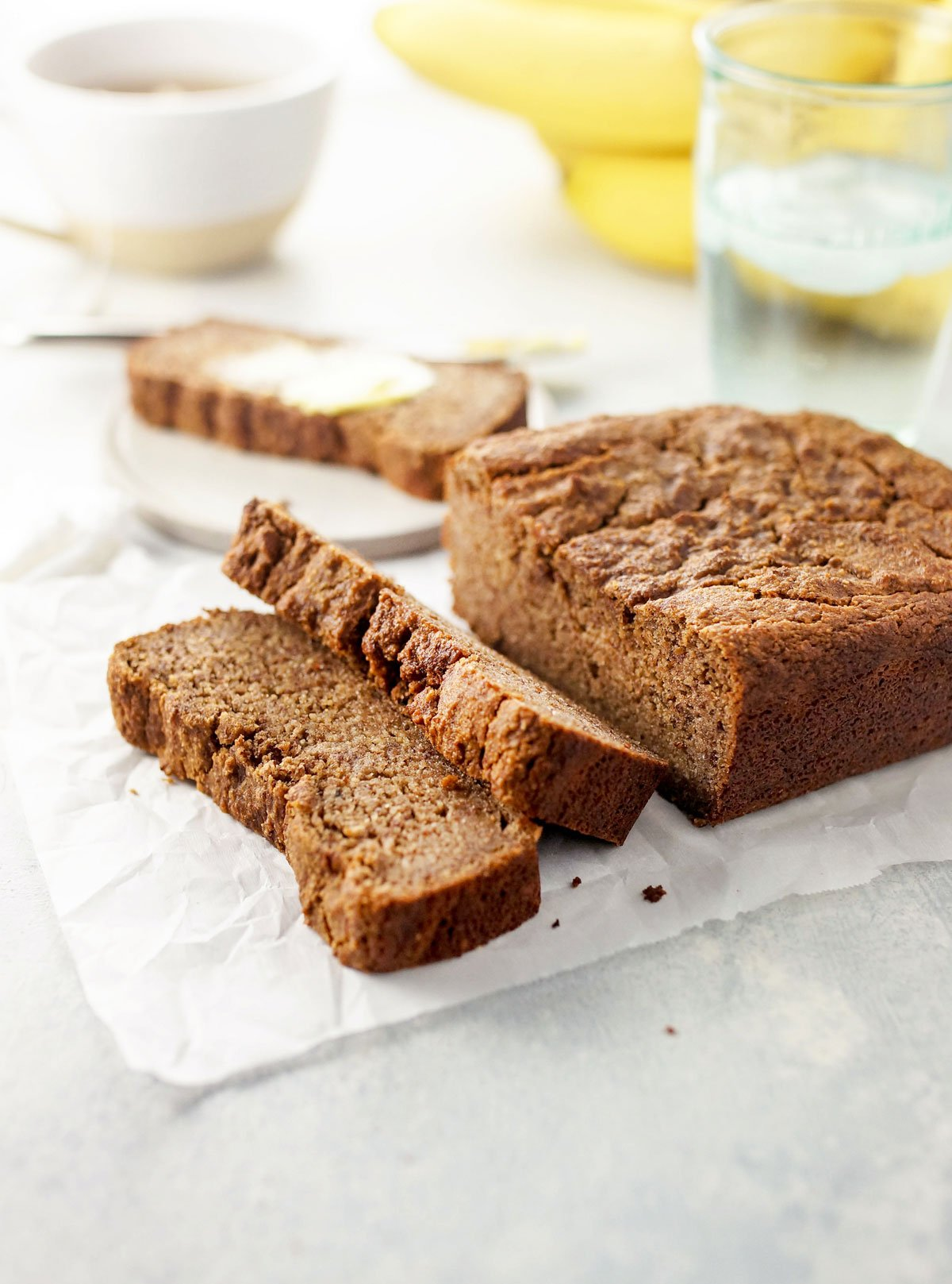 slices of almond flour banana bread from a loaf