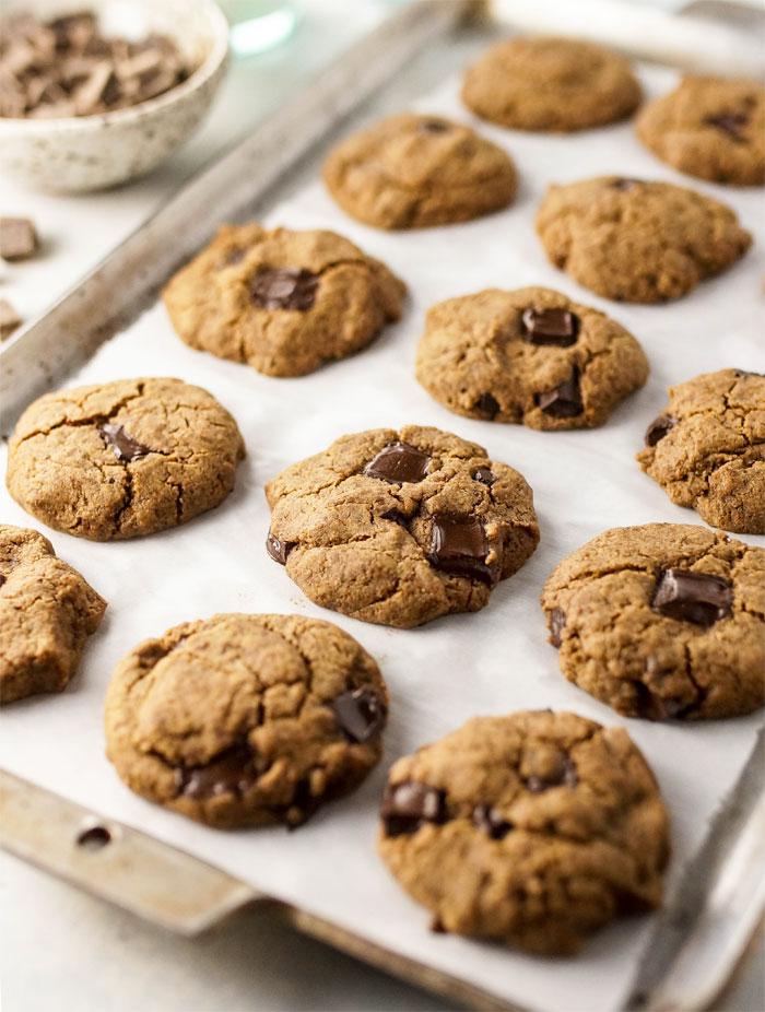 buckwheat chocolate chip cookies on a cookie sheat