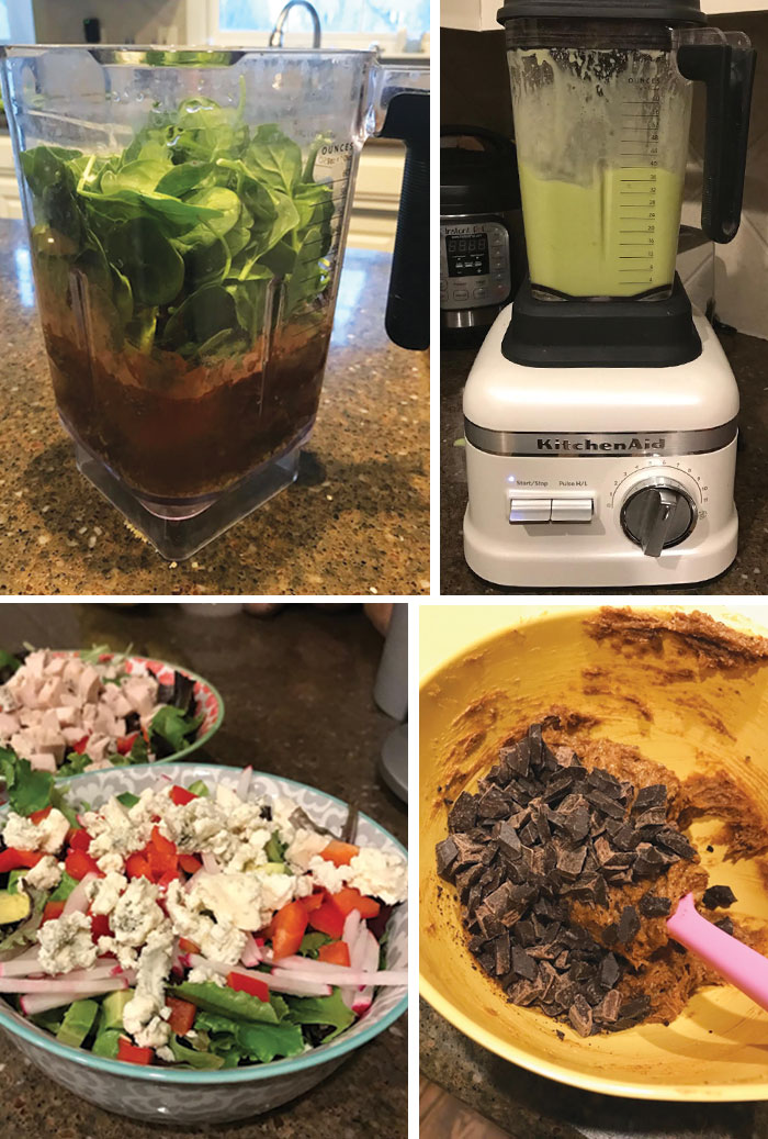 Chocolate superfood shake in a blender, salad in a bowl, and chocolate chip cookie dough being mixed in a bowl