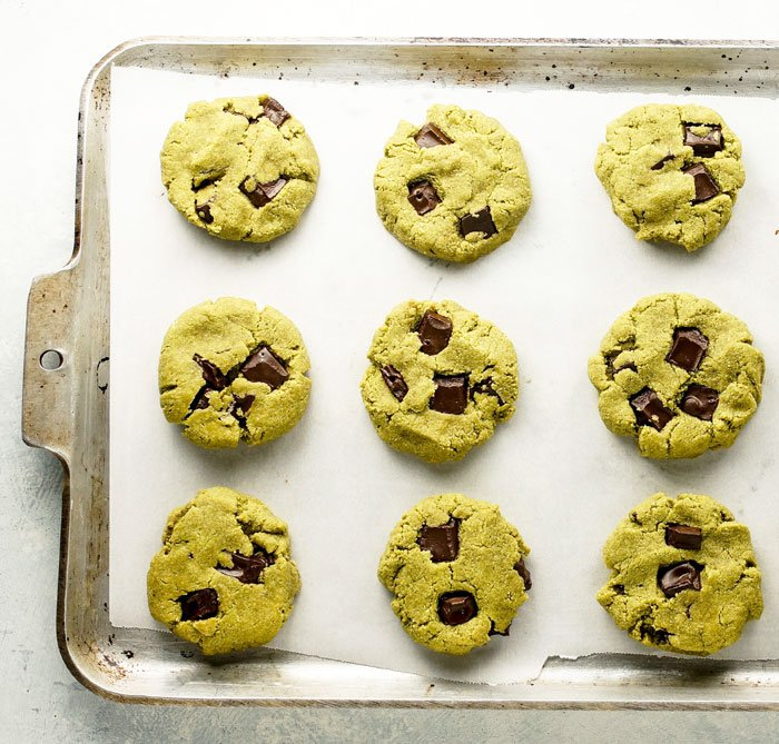 matcha mint chocolate chip cookies on a cookie sheet