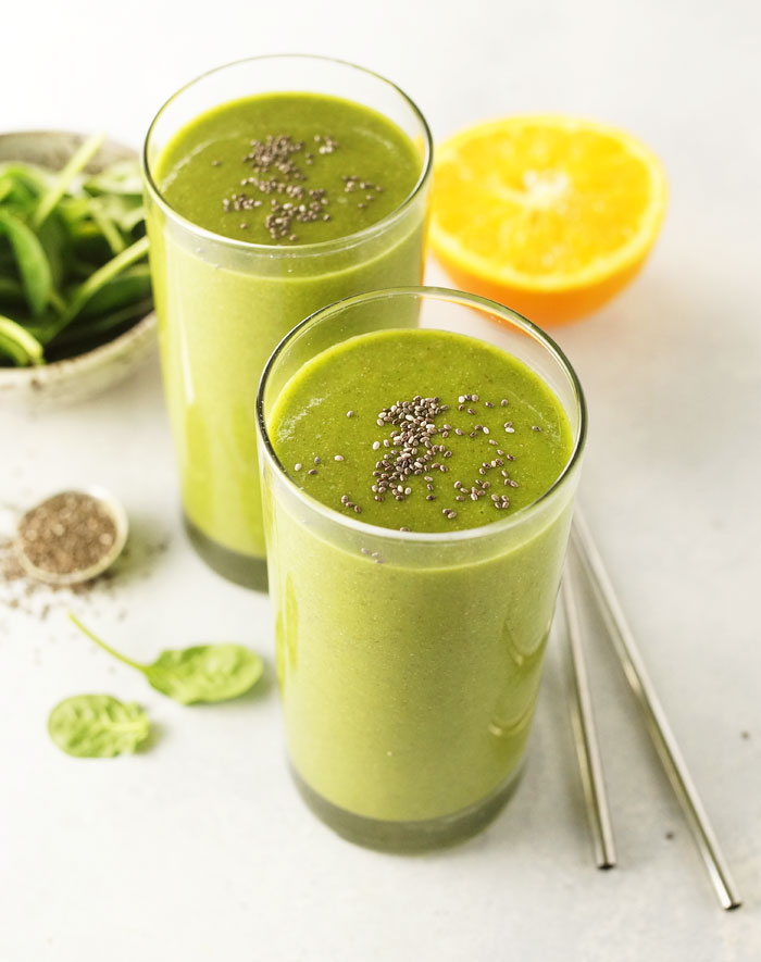 gorilla green smoothie in a glass with chia seeds on top