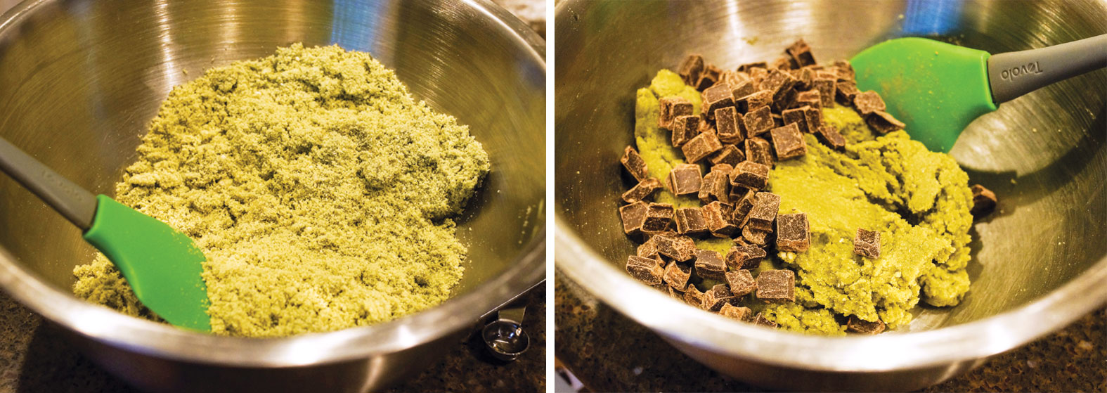 matcha mint chocolate chip cookie dough with chocolate chips being added into a mixing bowl
