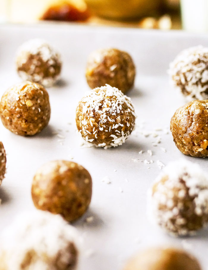 3-Ingredient Nut-Free Energy Bites rolled in coconut