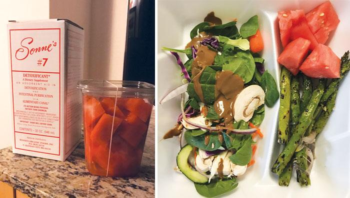 cut watermelon, a salad, and asparagus on a plate