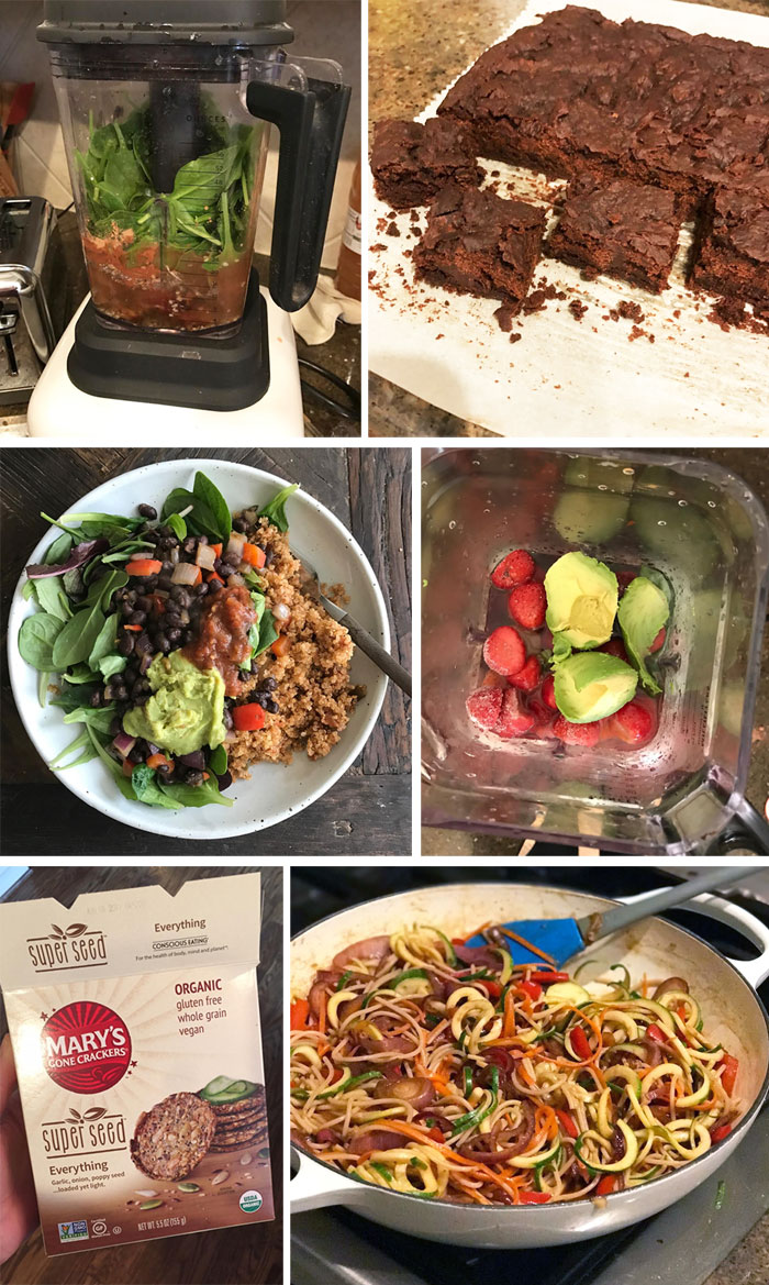 frosty chocolate shake in a blender, black bean brownies on a plate, salad in a bowl, and rainbow lo mein in a dish