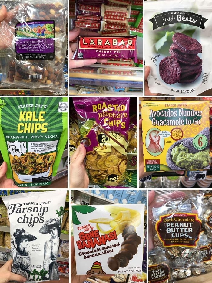 larabar, just beets, kale chips, roasted plantain chips, guacamole to go, parsnip chips, chocolate covered bananas, and peanut butter cups