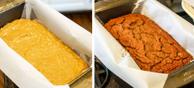coconut flour banana bread batter in a pan and then finished baking