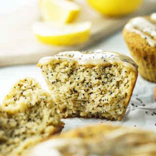 Coconut Flour Lemon Poppy Seed Muffins with Creamy Lemon Icing