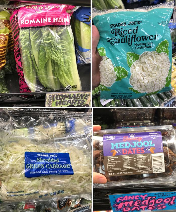 romain lettuce, riced cauliflower, shredded cabbage, and medjool dates