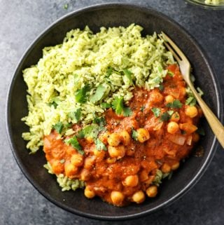 Vegan Chickpea Tikka Masala with Green Rice