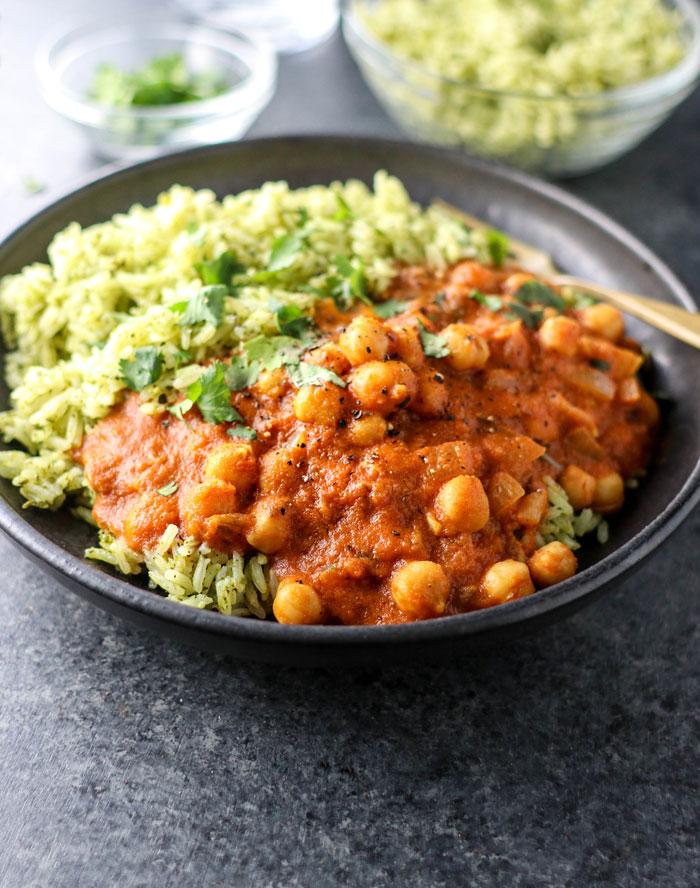 vegan chickpea tikka masala with green rice