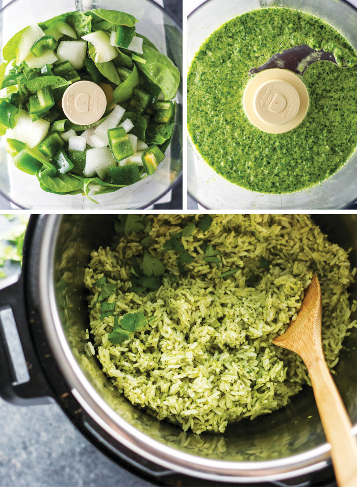 green rice ingredients in a food processor and an instant pot