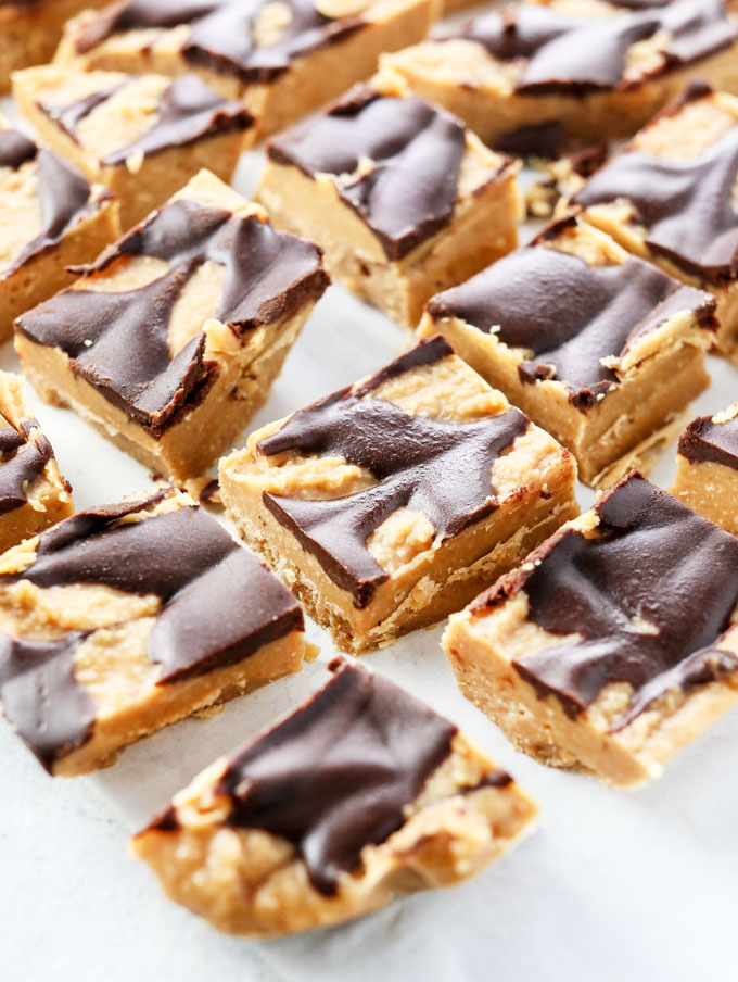 vegan peanut butter fudge squares with healthy dairy-free chocolate swirl on top