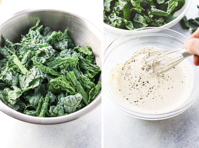 two bowls with kale and salad dressing