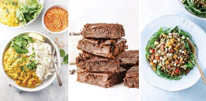 instant pot lentil curry, vegan flourless black bean brownies, and lentil potluck salad