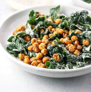 Vegan Kale Caesar Salad with Garlic Roasted Chickpeas