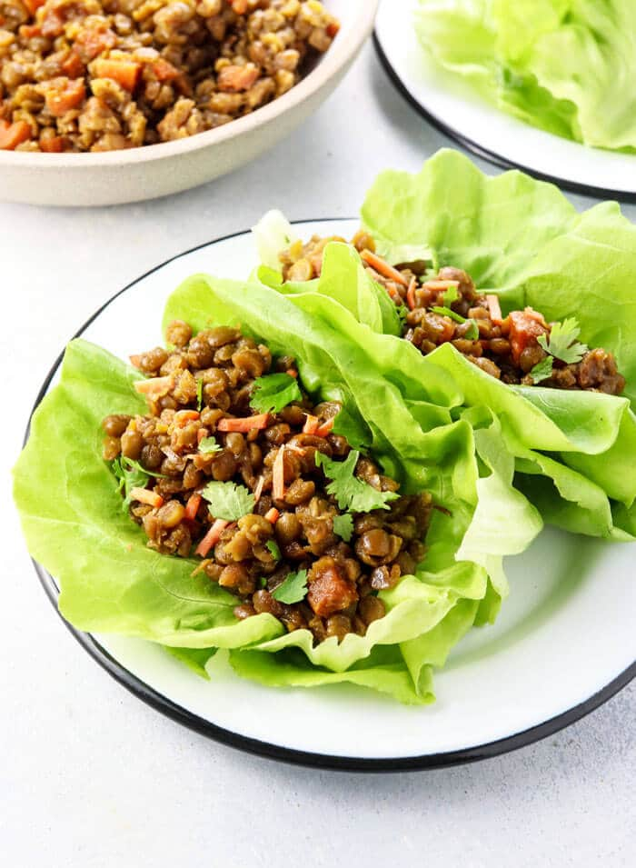 vegetarian copycat PF Chang's lettuce wraps on a white plate