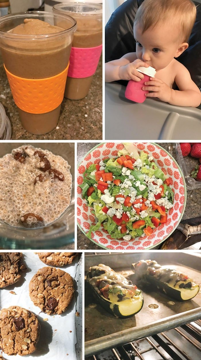 sample healthy meal ideas, chocolate smoothie, baby with smoothie reusable pouch