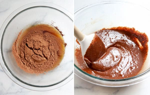 chocolate mixture in glass bowl