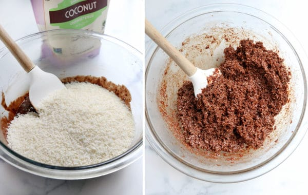 shredded coconut added to chocolate in bowl