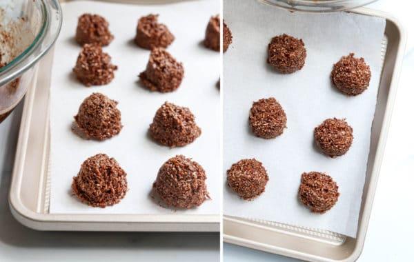 chocolate macaroons on baking sheet