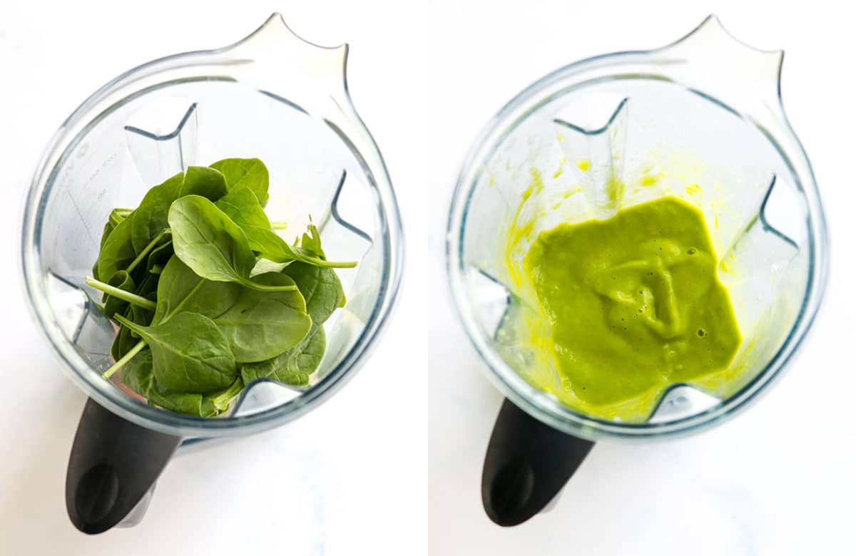 spinach in blender and after blending to show texture