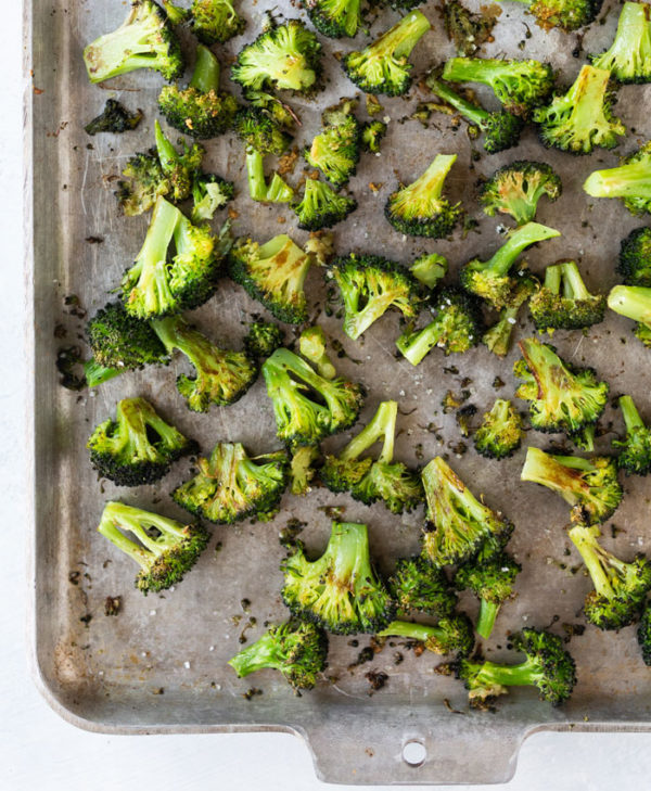 roasted broccoli on pan