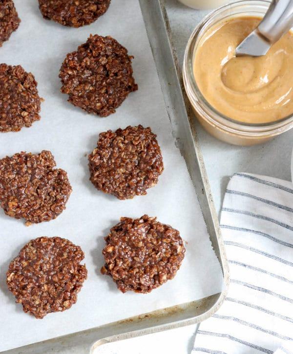 vegan no bake cookies overhead on pan