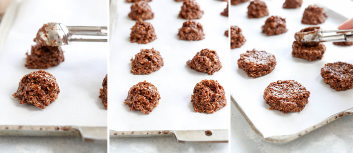 vegan no bake cookies being flattened by scoop