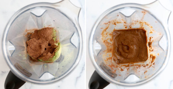 avocado and cacao powder blended together in blender