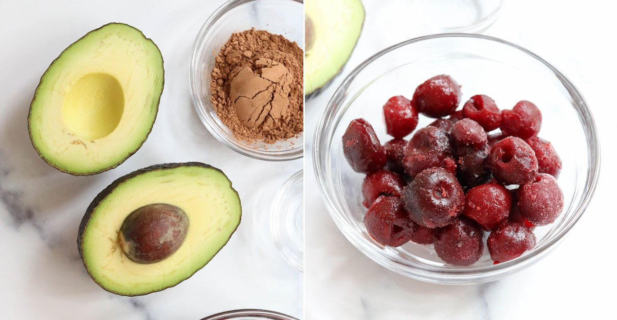 avocado pudding ingredients on marble board