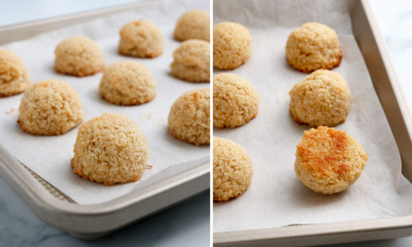 finished baked macaroons that are golden on the bottom