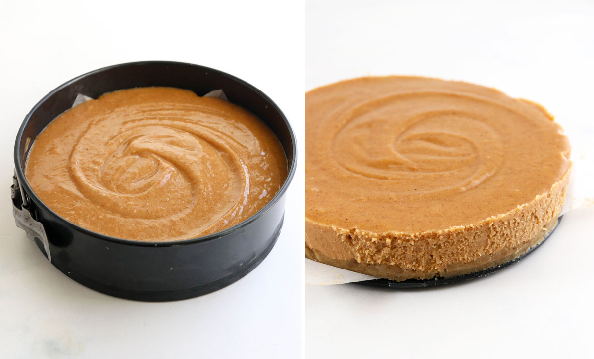 Vegan pumpkin cheesecake chilled with pan removed