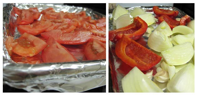 tomatoes, peppers, and onions ready to roast on trays